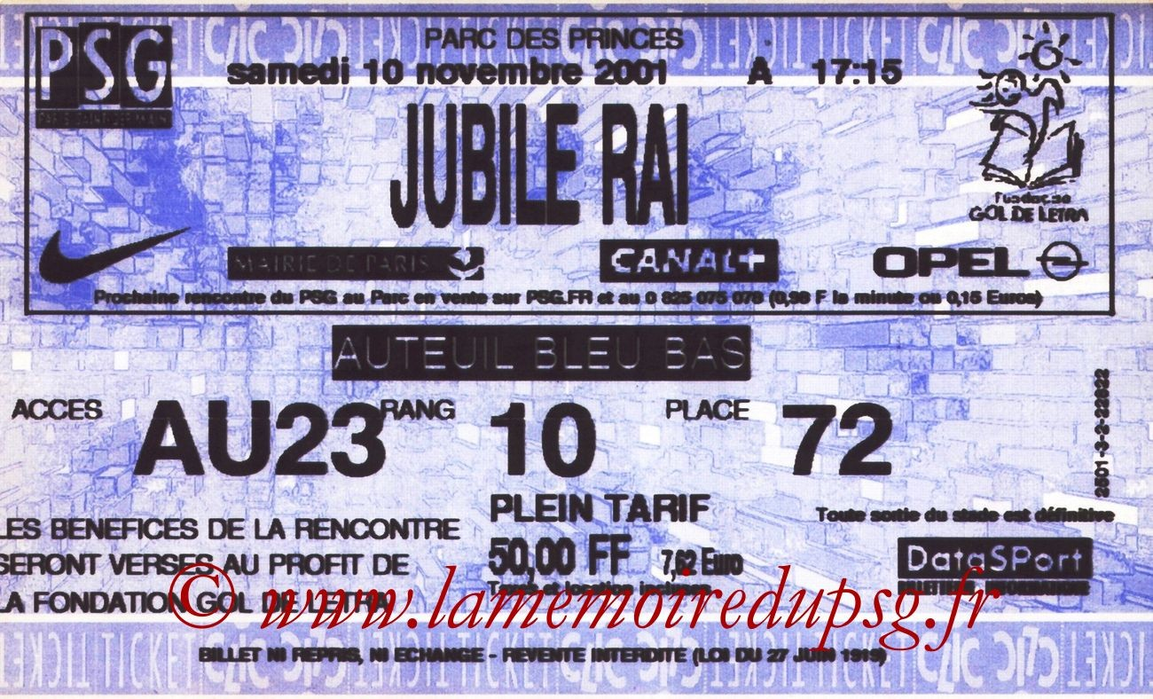 2001-11-15  Jubilé Rai au Parc des Princes (Ticketclic)
