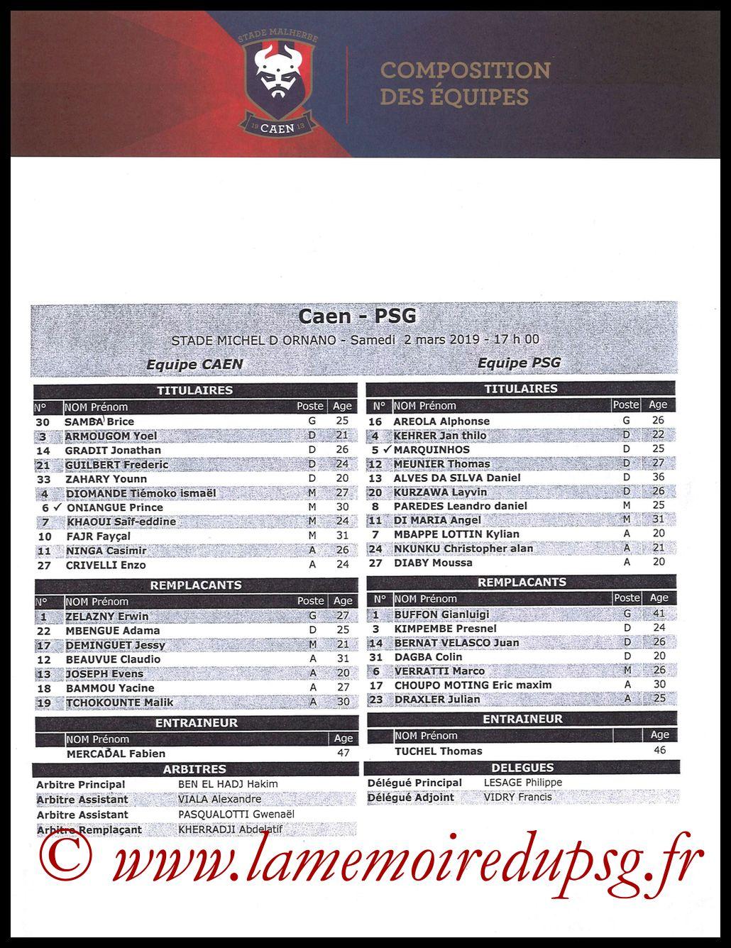2019-03-02  Caen-PSG (27ème L1, Feuille de match)