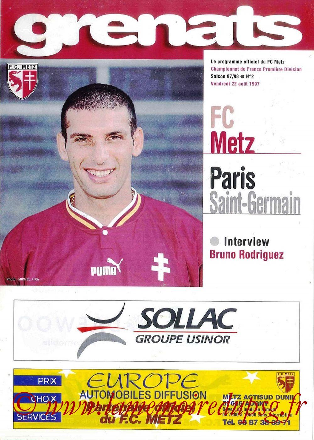 1997-08-22  Metz-PSG (4ème D1, Grenats N°2)