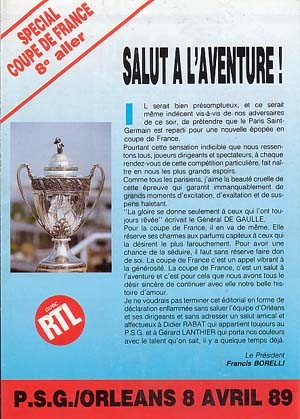 1989-04-08  PSG-Orléans (8ème Finale Aller CF, Programme officiel)