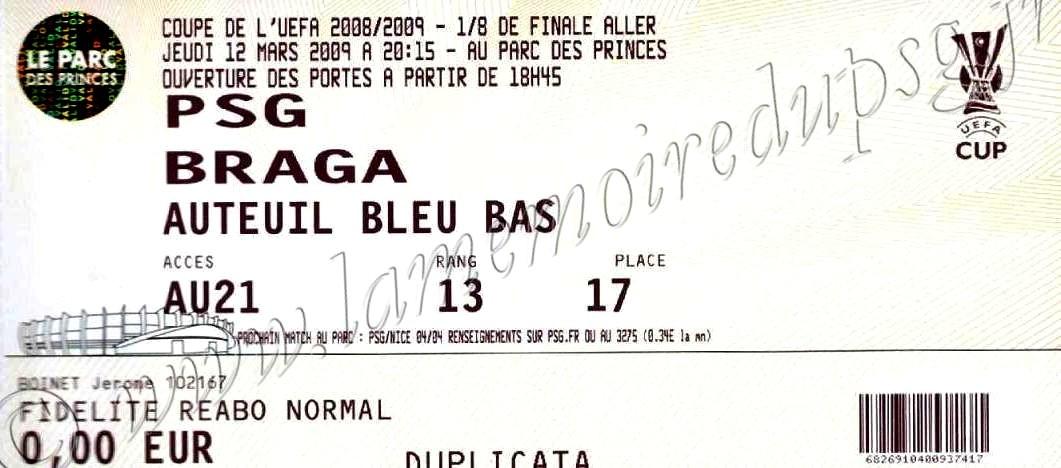 2009-03-12  PSG-SC Braga (8ème Finale Aller C3)bis