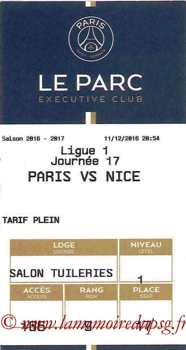 2016-12-11  PSG-Nice (17ème L1, E-ticket Executive club)