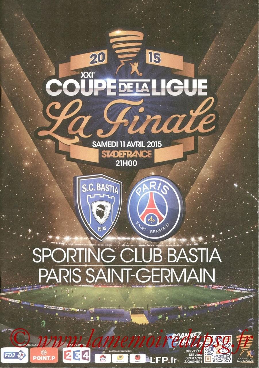 2015-04-11  Bastia-PSG (Finale CL à Saint-Denis, Programme officiel)