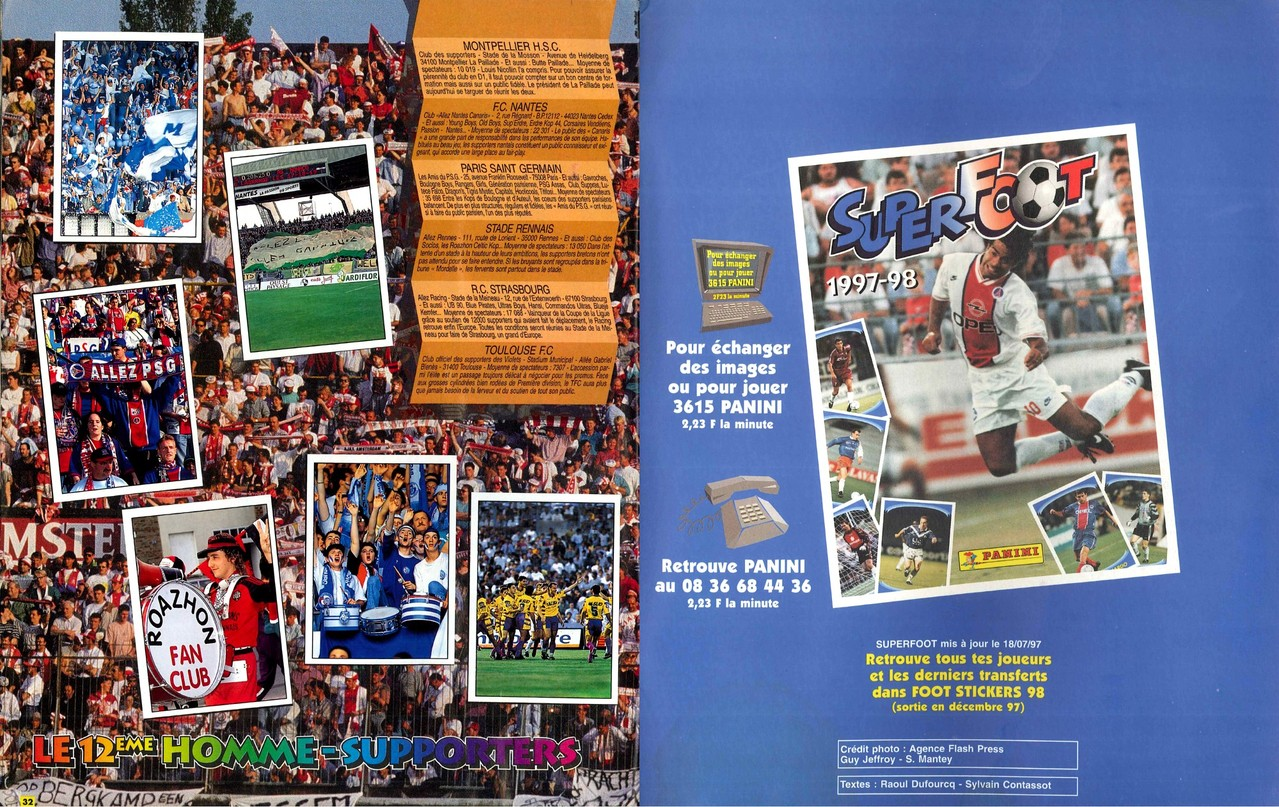 1997-98 - Panini Superfoot - Pages 32 et 33 - Le 12ème homme-supporters