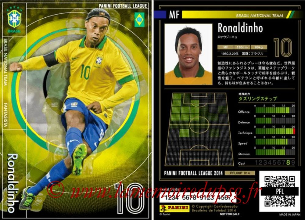 N° P 014 - RONALDINHO (2001-03, PSG > 2013-14, Brésil) (Fantasista)