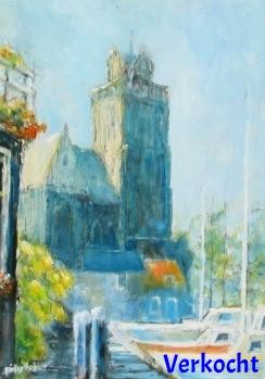 Grote Kerk vanaf de Lange IJzeren Brug, zomer  (verkocht)