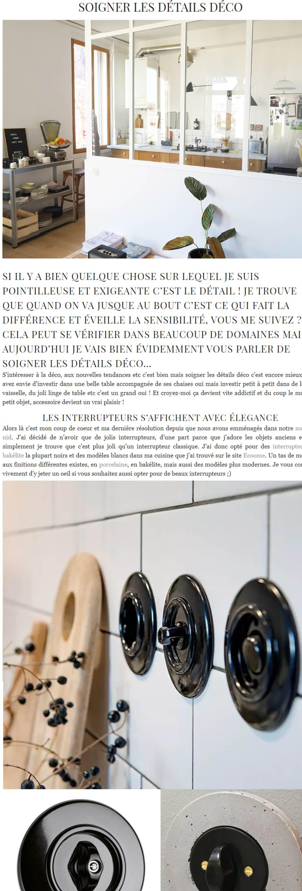 Article du blog déco lifestyle Blueberry Home sur les interrupteurs distribués par Ecoome sur www.interrupteur-pour-tous.fr