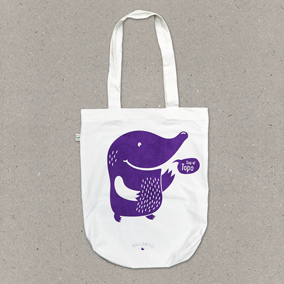 Ballenito Stofftasche weiss mit Maulwurf in violett