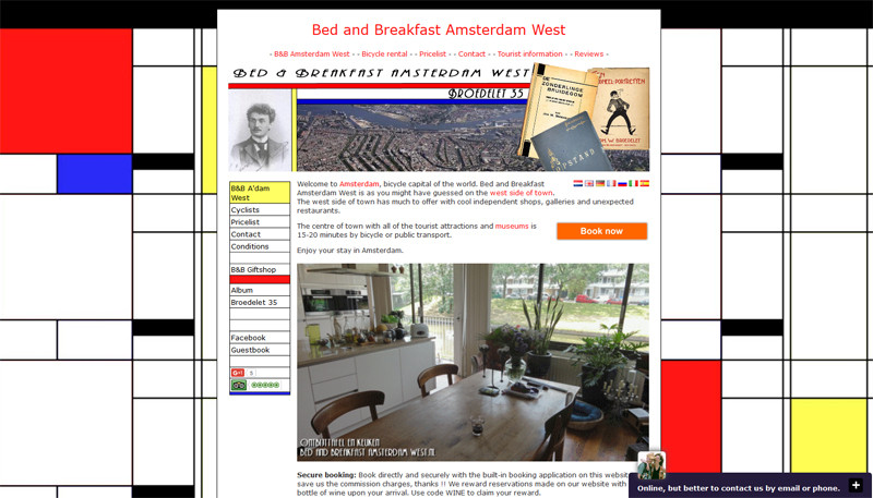 Website B&B Amsterdam West 2012-2015
