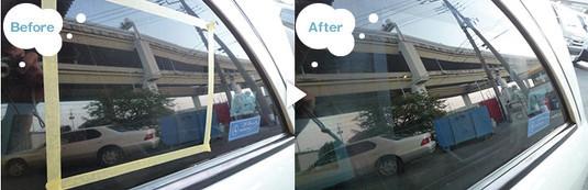 ガラスの鱗状痕(ウロコ状のガンコな水ジミ・水垢・ウォータースポット)の除去。施工前後の比較写真