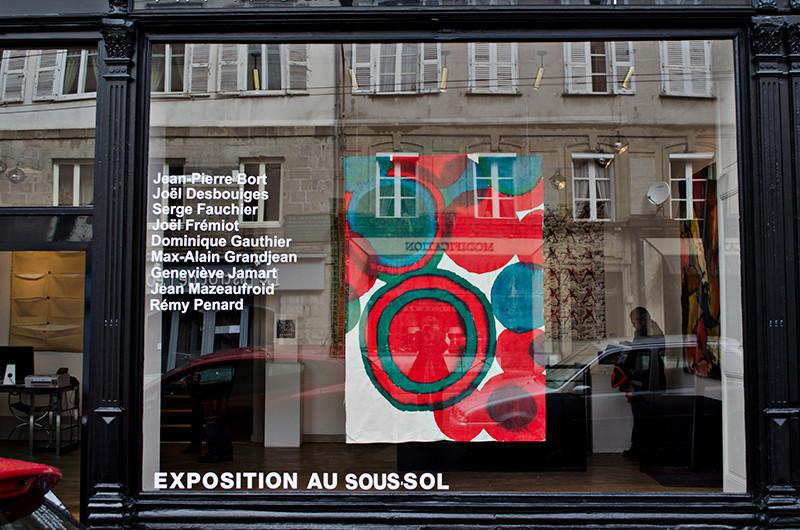 """vitrine """"Autour de Claude Viallat années 70"""" Geneviève Jamart galerie Artset Limoges ©BD-F"""