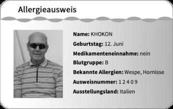 Ein Allergieausweis besteht aus acht verschiedenen Informationen: Portraitbild, Name, Geburtstag, Medikamenteneinnahme, Blutgruppe, Bekannte Allergien, Ausweisnummer und Ausstellungsland