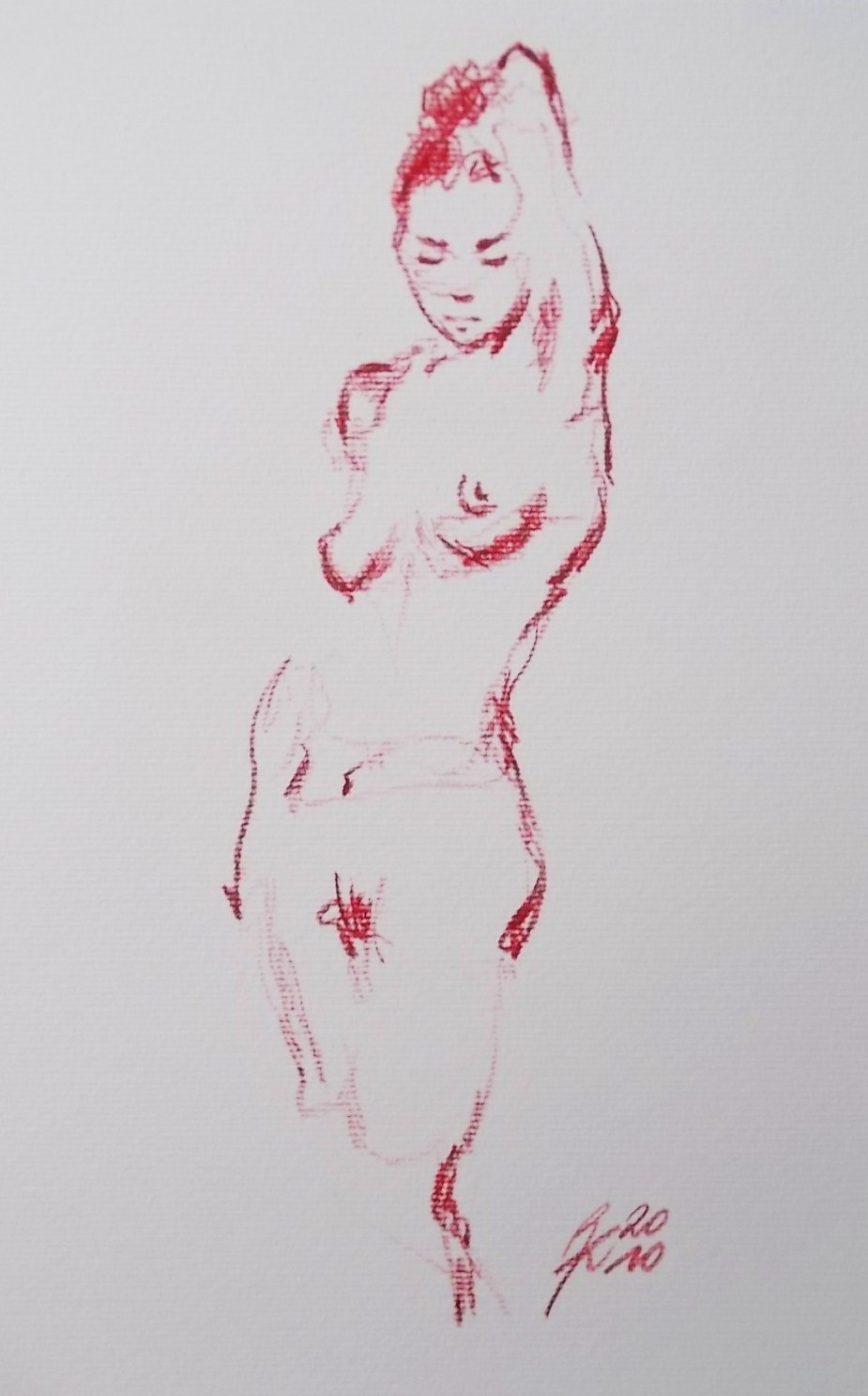 Nude, red pencil
