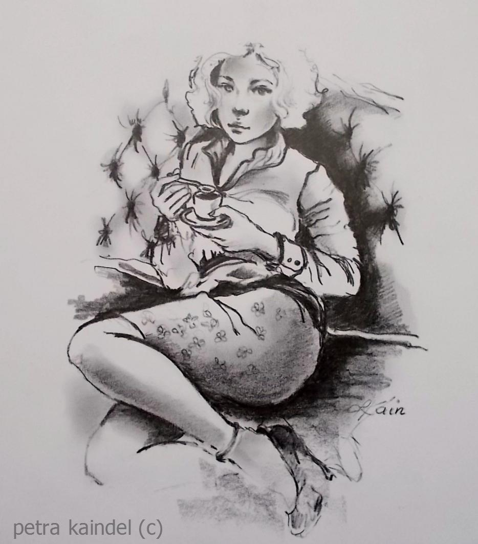 Girl with cup, 24 x 20 cm, monolith pencil on paper (sold)
