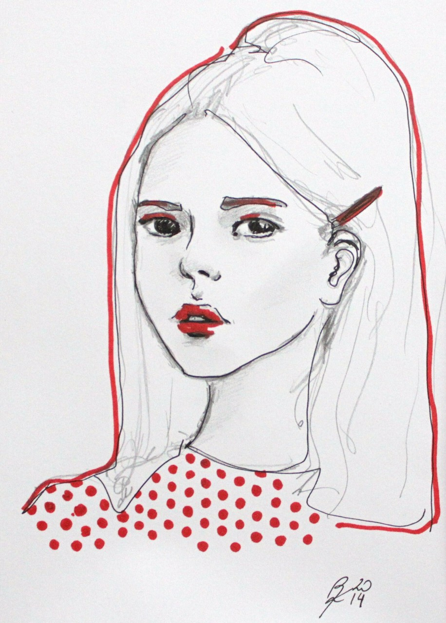 Portrait, small size, monolith pencil and brush pen on paper