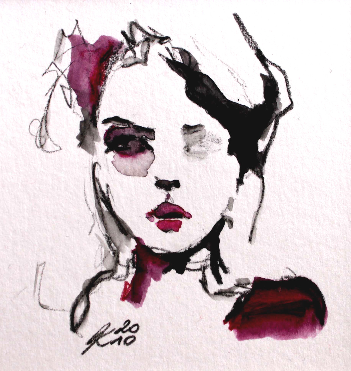 Portrait, small size, water colour on paper