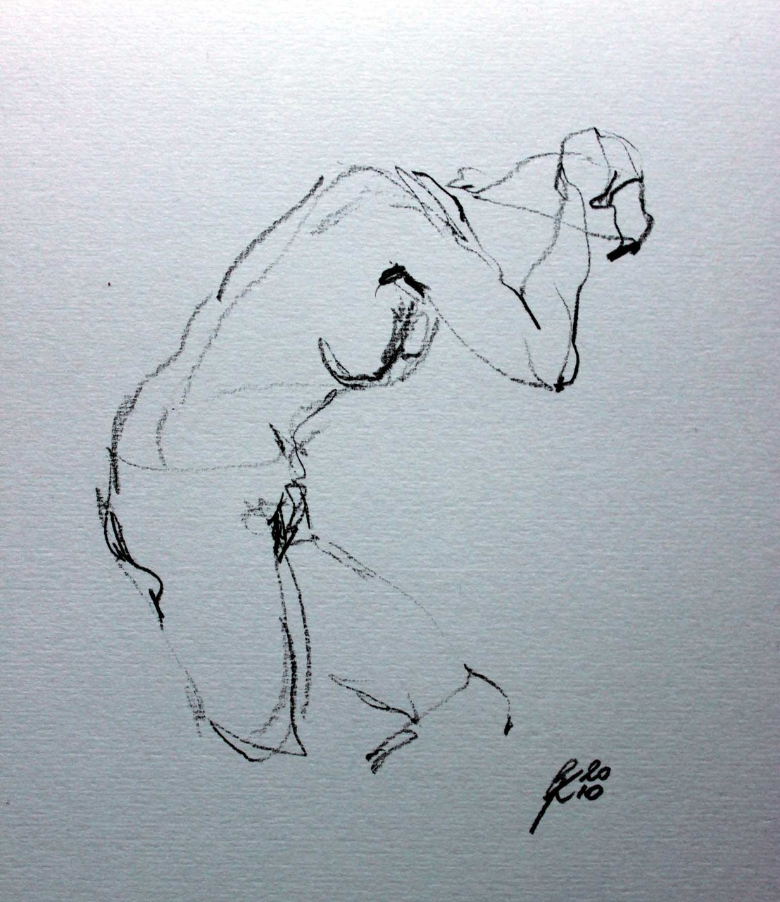 Nude study, chalk on paper