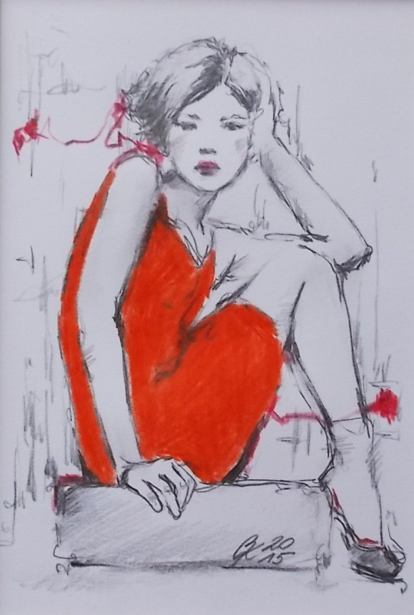 Girl in orange dress, 14 x 10 cm, pencils