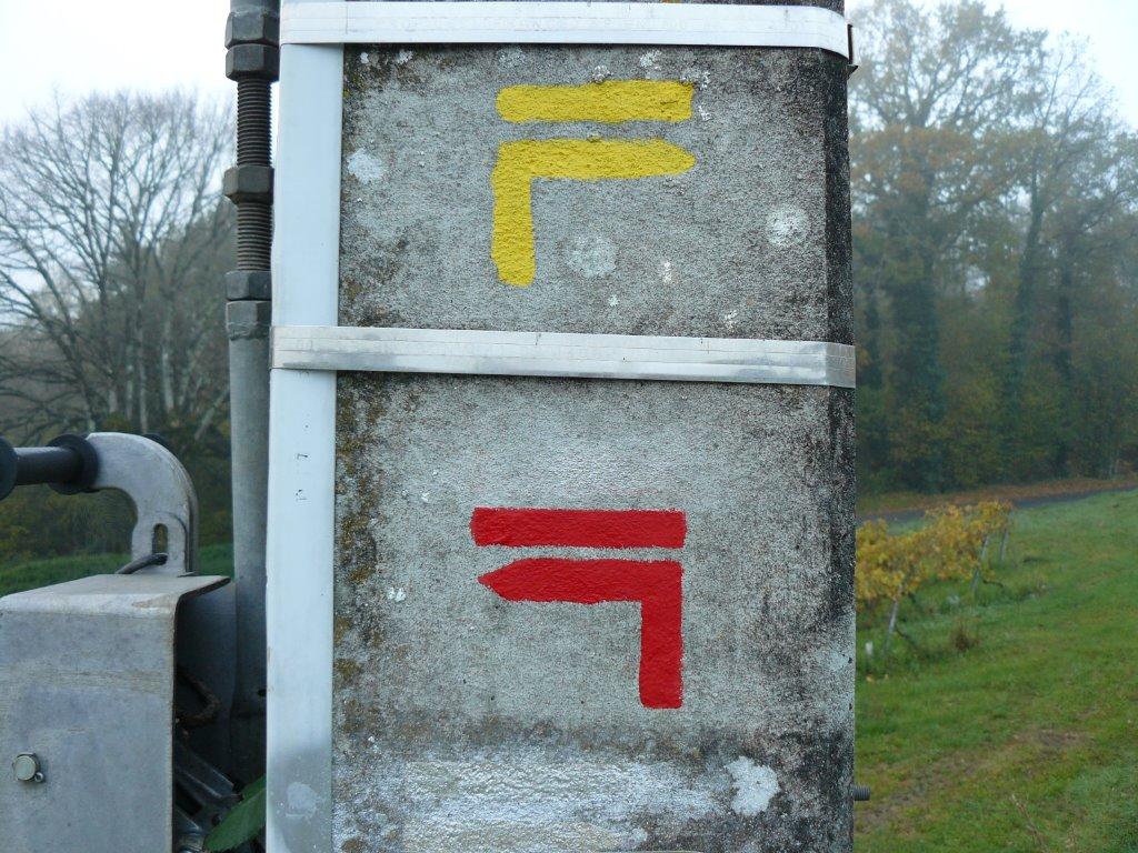 """Sentier jaune : """"tourner à droite"""" ; Sentier rouge : """"tourner à gauche"""""""