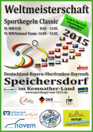 Plakat der Weltmeisterschaft der Sportkegler in Speichersdorf