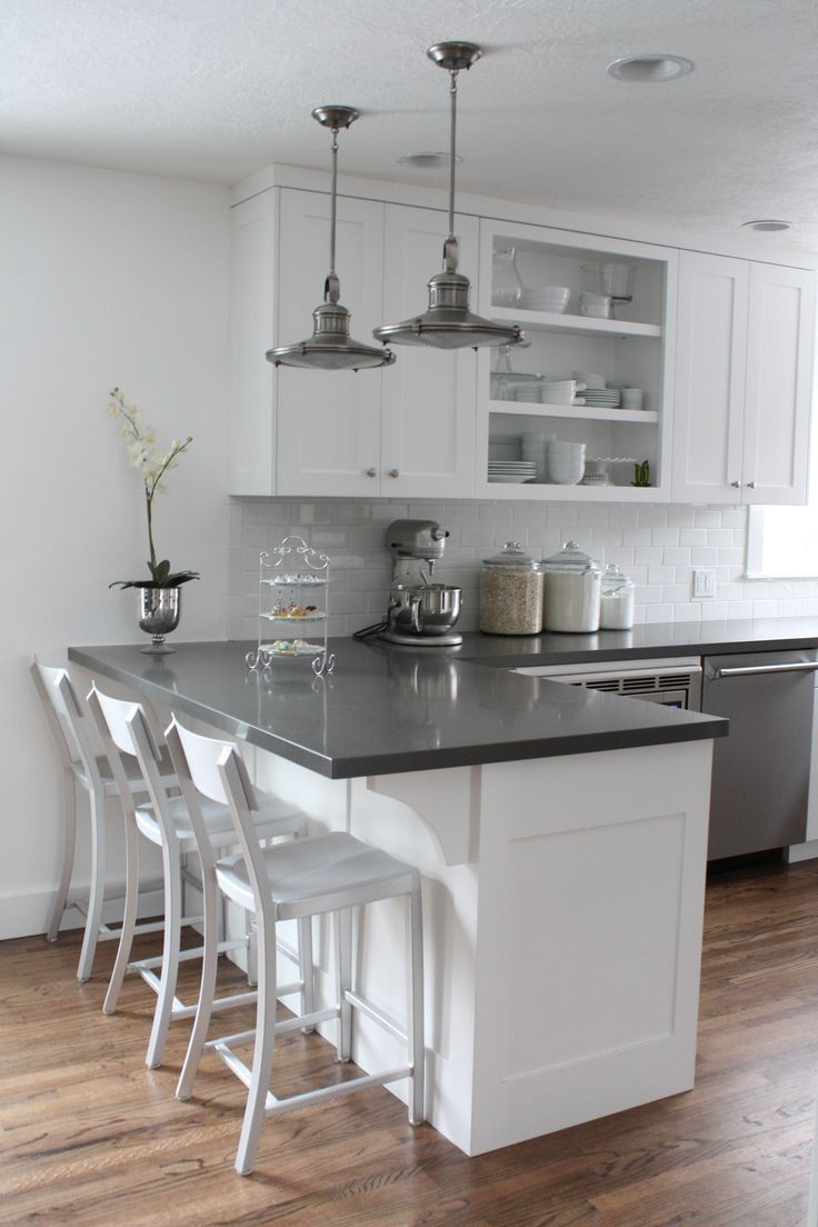 quartz countertop in a white kitchen