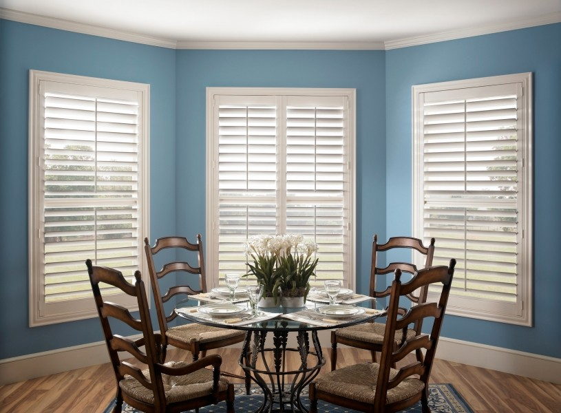 Beautiful Eclipse Shutters keep a room beautifully bright whenever you want. These have a divider rail which gives the option to close the bottom section and keep the top open.