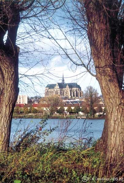Basilique de Saint-Quentin vue du marais d'Isles