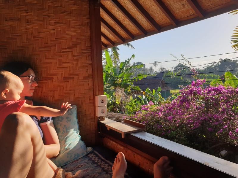 Das Bett auf dem Balkon