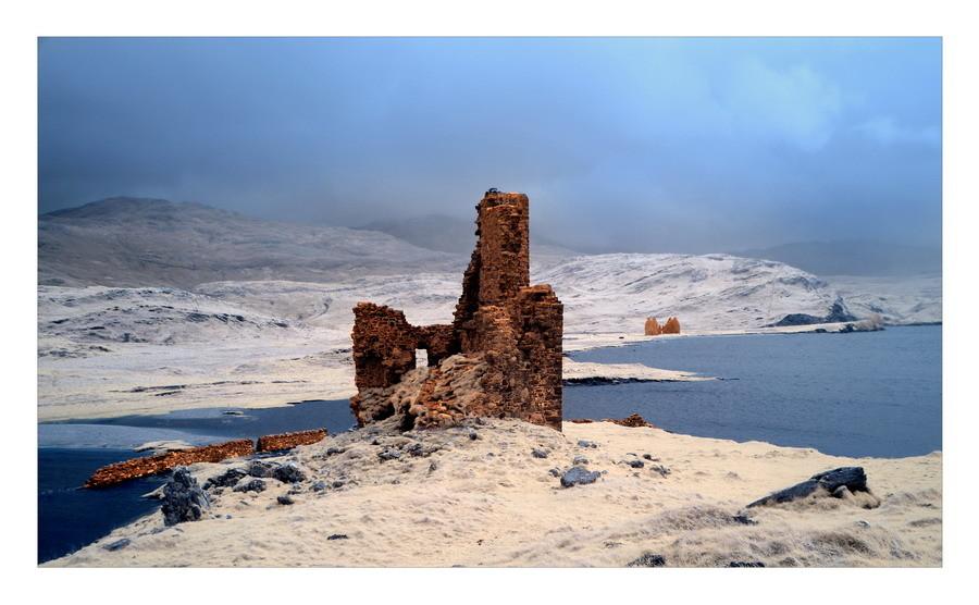 Ardvreck Castle, Loch Assynt, Sutherland, Highlands IX (Infrarot)