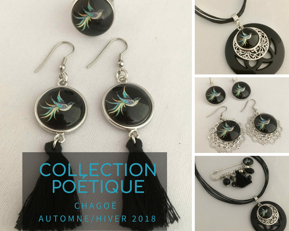 Chagoë, Ras le cou, broche épingle et BO AMUSEE, NEW Collection  POETIQUE 2018