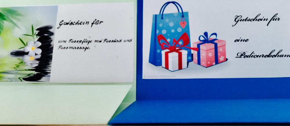 Fusspflegegutschein als Geburtstagsgeschenk.