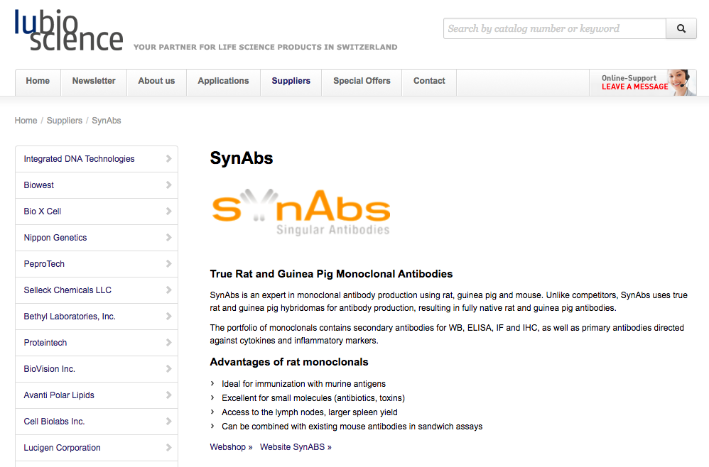 SynAbs Appoints LuBioScience GmbH As New Distributor For Its Unique Catalogue Of Monoclonal Antibodies In Switzerland