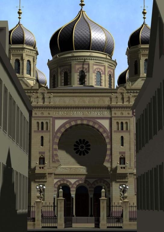 Kaiserslautern, Straßenflucht zum Eingang der Synagoge