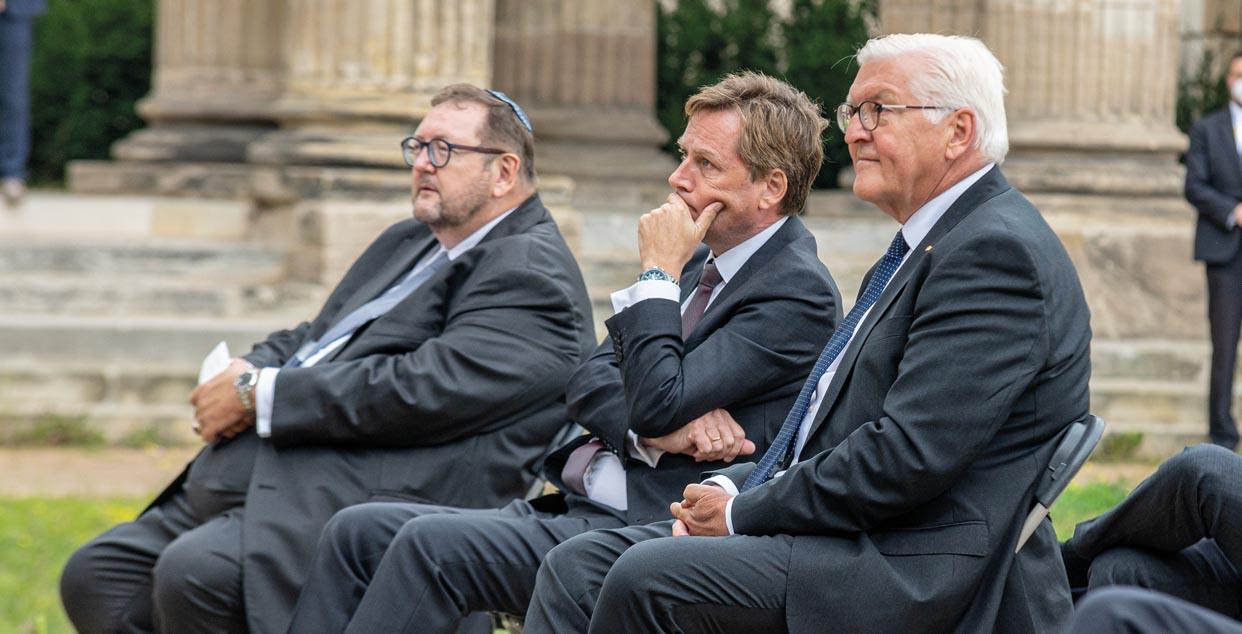Prof. Dr. Walter Homolka (l.),  Prof. Dr. Oliver Günther, Präsident der Universität Potsdam und Bundespräsident Frank-Walter Steinmeier.