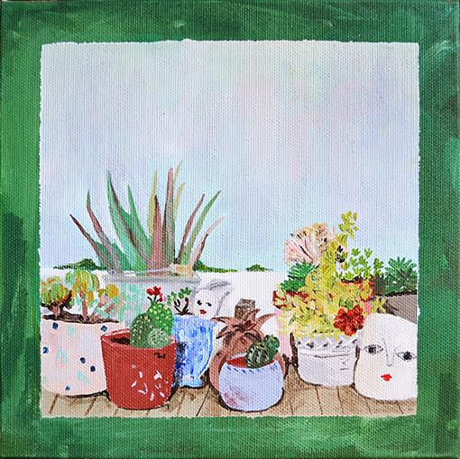 Jardín martungas, 20x20cm, acrílico sobre lienzo, maría azcona 2015