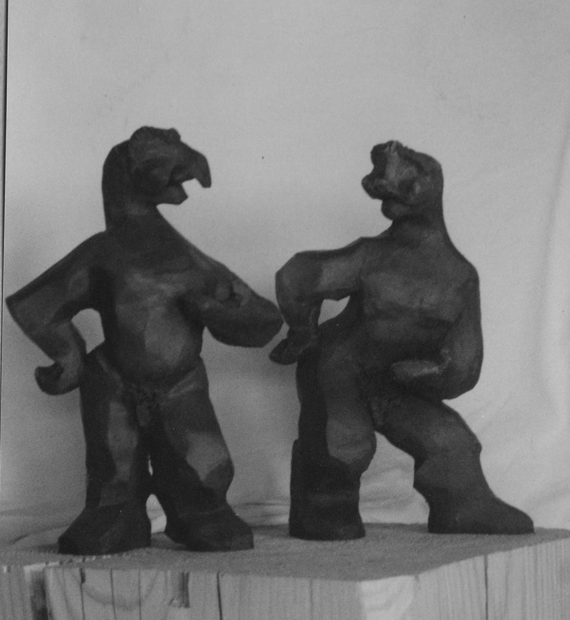 """ Comedia "" Sculptures grès enfumé - Raku - Caco ...collection privée"