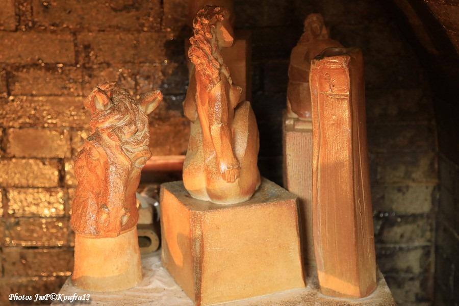 """Sculptures de Juan José Ruiz dit """"Caco"""" encore dans le Noborigama au défournement"""