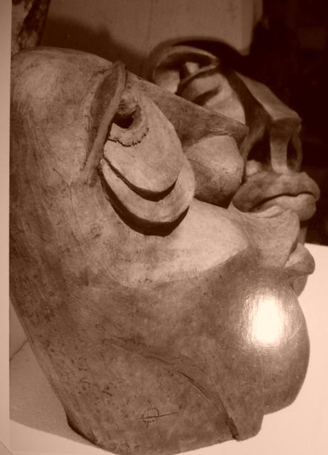 Sculpture grès enfumé - Raku - Caco ...collection privée