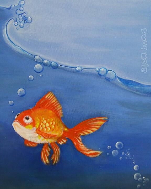 """Goldi"" Prototyp, Acrylmalerei, 50 × 70 cm"