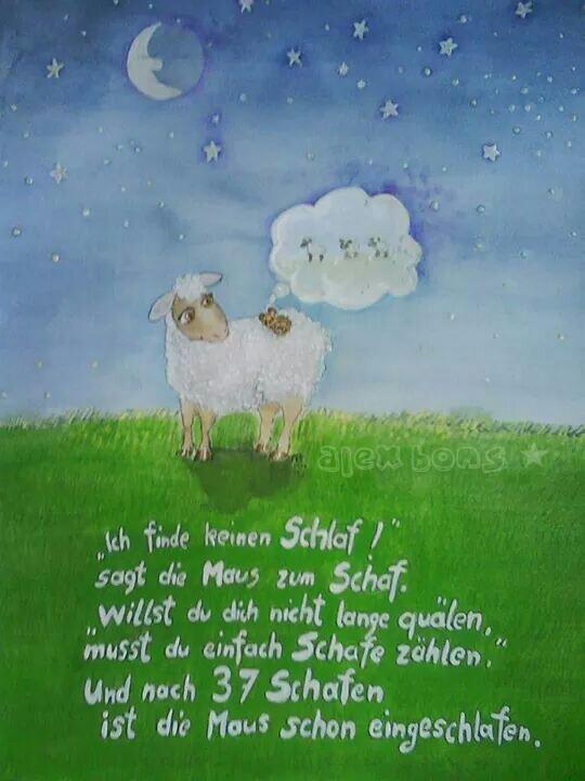 Aquarell Schaf Schafe zählen Maus schlafen Kinder Reim