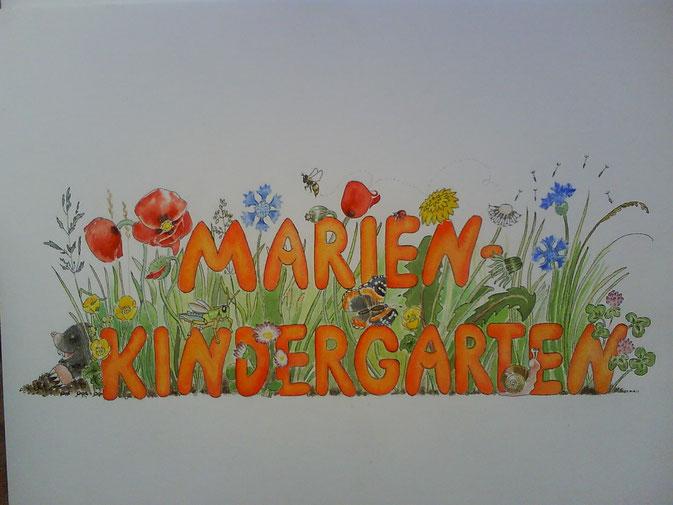 Aquarelle Blumenwiese Tiere Marien Kindergarten Logo