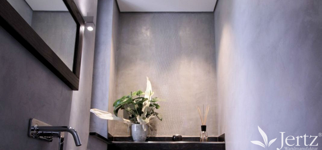 ein badezimmer ohne fliesen mit marmorputz und zementboden sch ne wandgestaltungen sowie. Black Bedroom Furniture Sets. Home Design Ideas