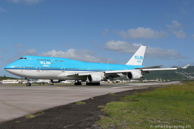 Boeing B747-400 der KLM in SXM St.Maarten