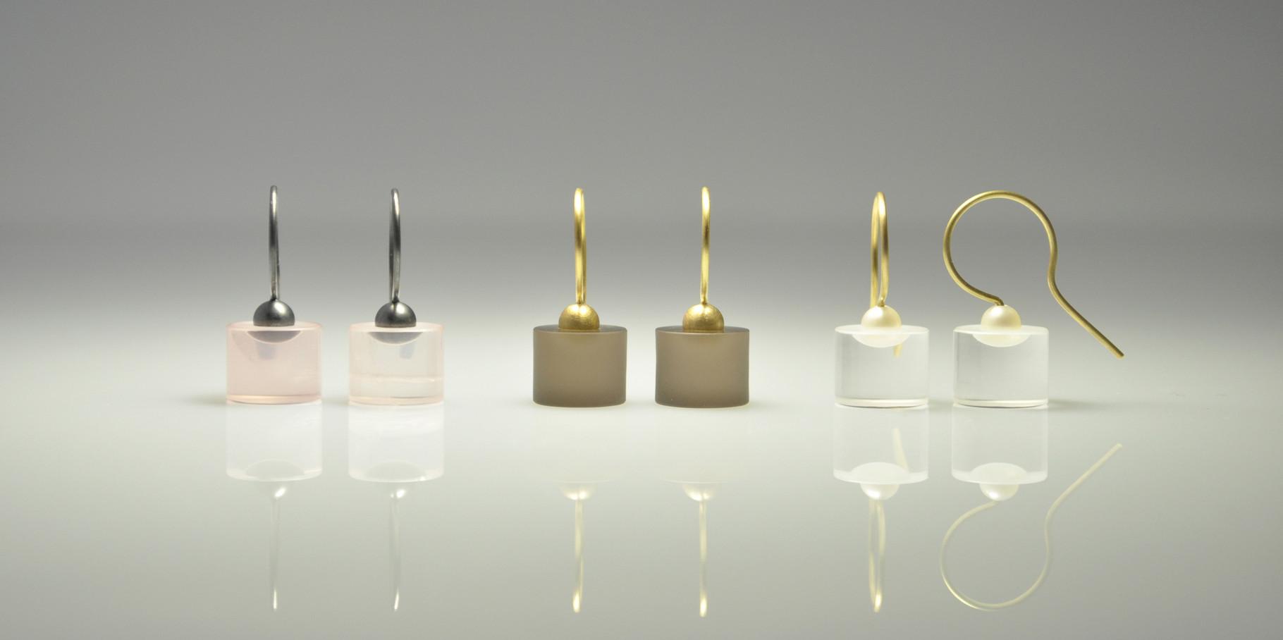 Rosenquarz & Silber, Rauchquarz & 750/- Gelbgold, Bergkristall, Akoyaperle & 750/- Gelbgold