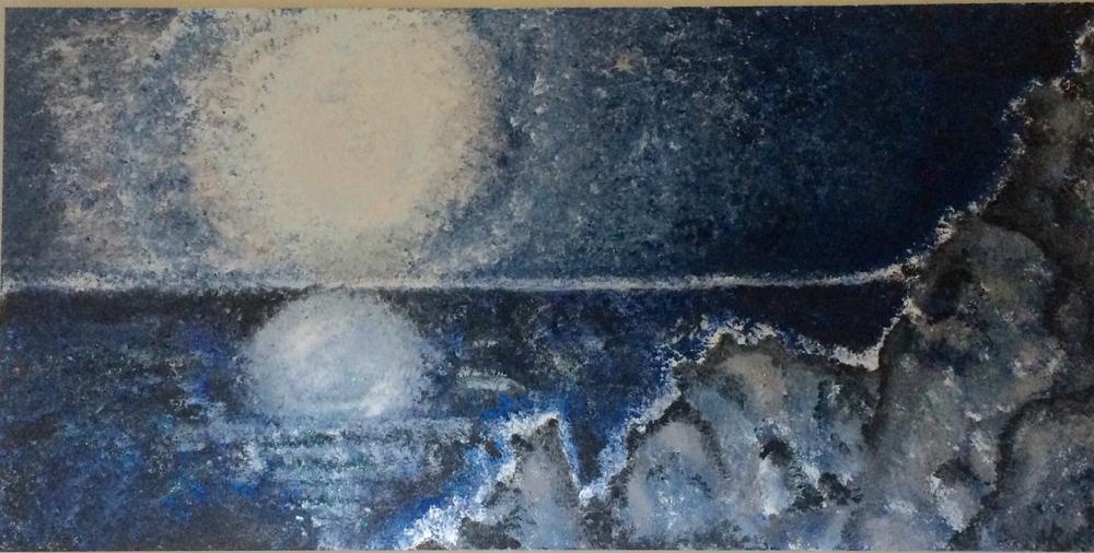 Bergsee im Mondlicht. (gemalt mit Schwamm)