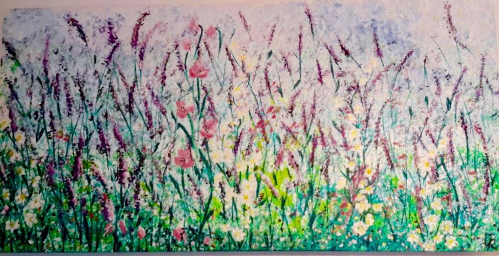Blumenwiese (gemalt mit Schwamm und Pinsel)