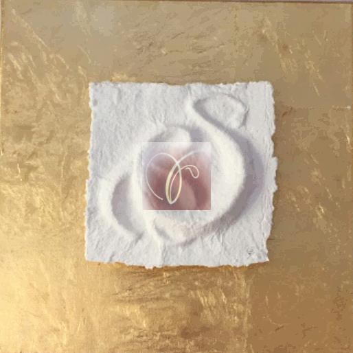 Sternzeichen Zwilling - handgeschöpftes geprägtes und energetisiertes Papier auf Blattmetall