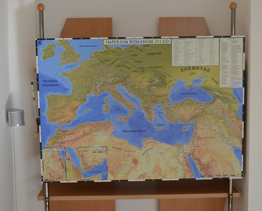 The Roman Empire map printed on an Aluminium plate