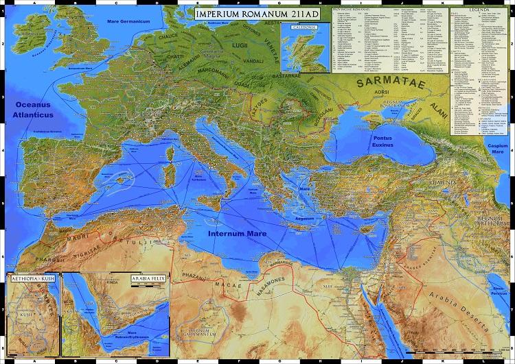 Karte des Römischen Reichs Landkarte Römisches Reich