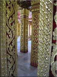De binnenzijde van de zaal met een 5 niveau tellend dak van de Ho Phra Bang. Een deel van een groot paleizencomplex.